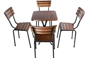 Bộ bàn ghế cafe gỗ cũ 01