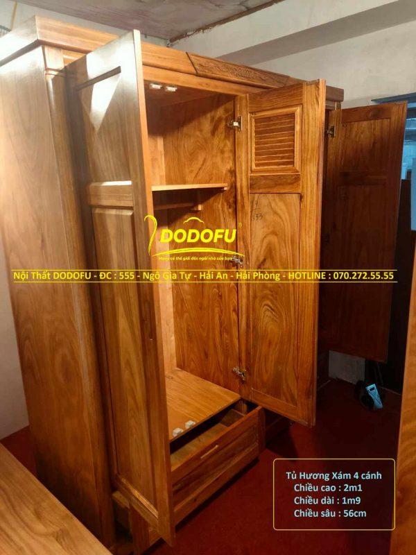 tủ gỗ hương xám 4 cánh cũ 01