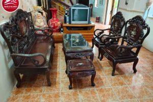 bộ bàn ghế đồng kỵ gỗ gụ cũ 01
