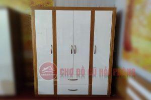 tủ quần áo gỗ công nghiệp sơn trắng đánh bóng 4 cánh
