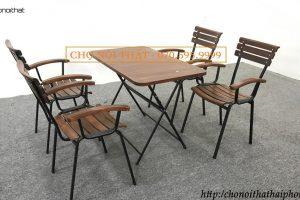Bàn ghế cafe nan tĩnh dài