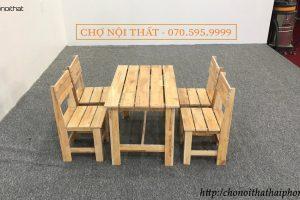 bộ bàn ghế cafe gỗ mặt lan