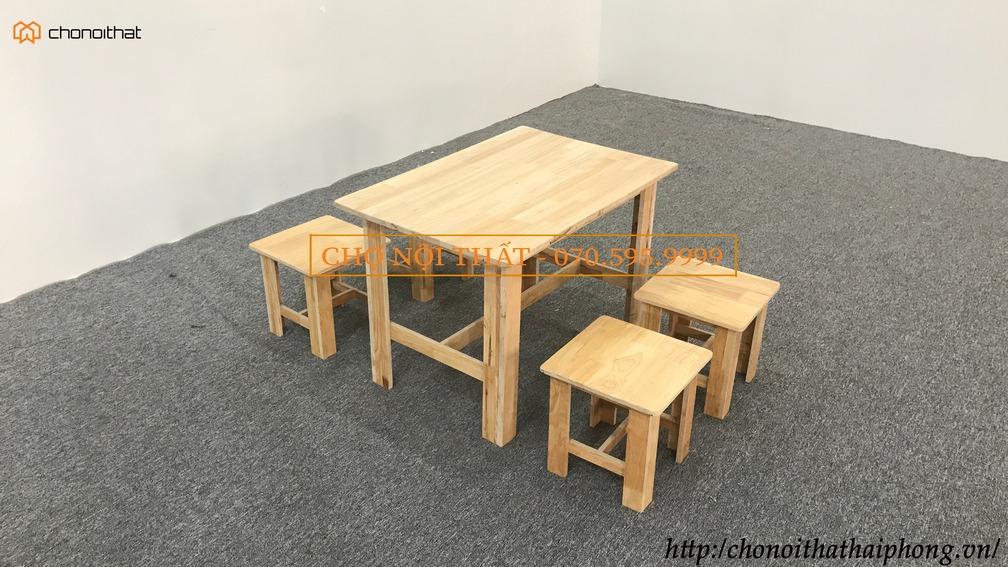 Bộ bàn ghế cafe mini ghế đôn sơn bóng