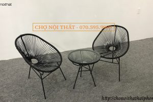 Bộ bàn ghế cafe apuco màu đen