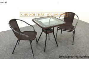 Bộ bàn ghế cafe mây màu socola