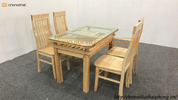 Bộ bàn ăn sồi 1m2 sơn bóng