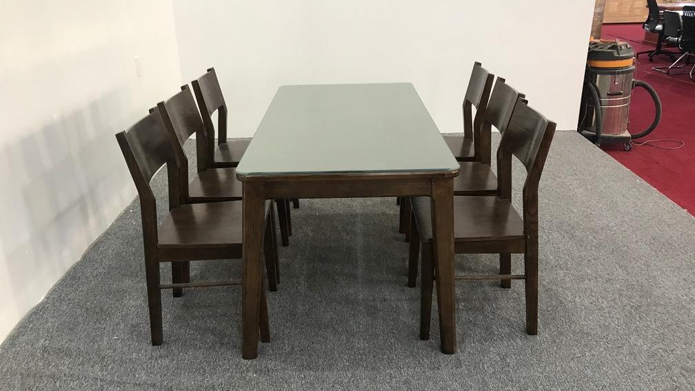 Bộ bàn ăn gỗ sồi mặt kính 6 ghế