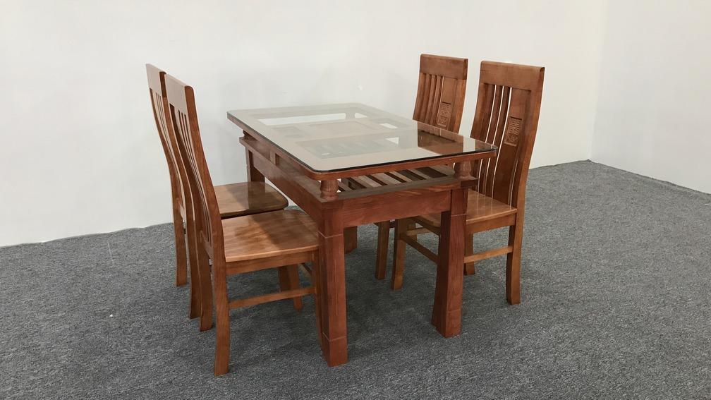 Bộ bàn ăn gỗ sồi mini 1m2 màu nâu đậm