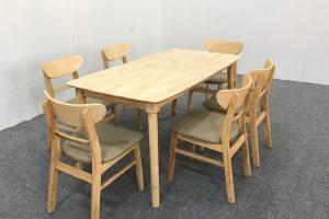 bộ bàn ăn mango 6 ghế chân tròn