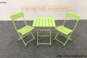 Bộ bàn ghế cafe nan sắt xanh lá
