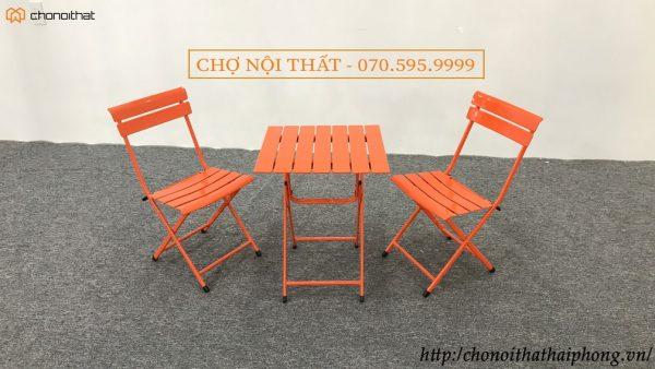 bộ bàn ghế cafe sắt màu cam