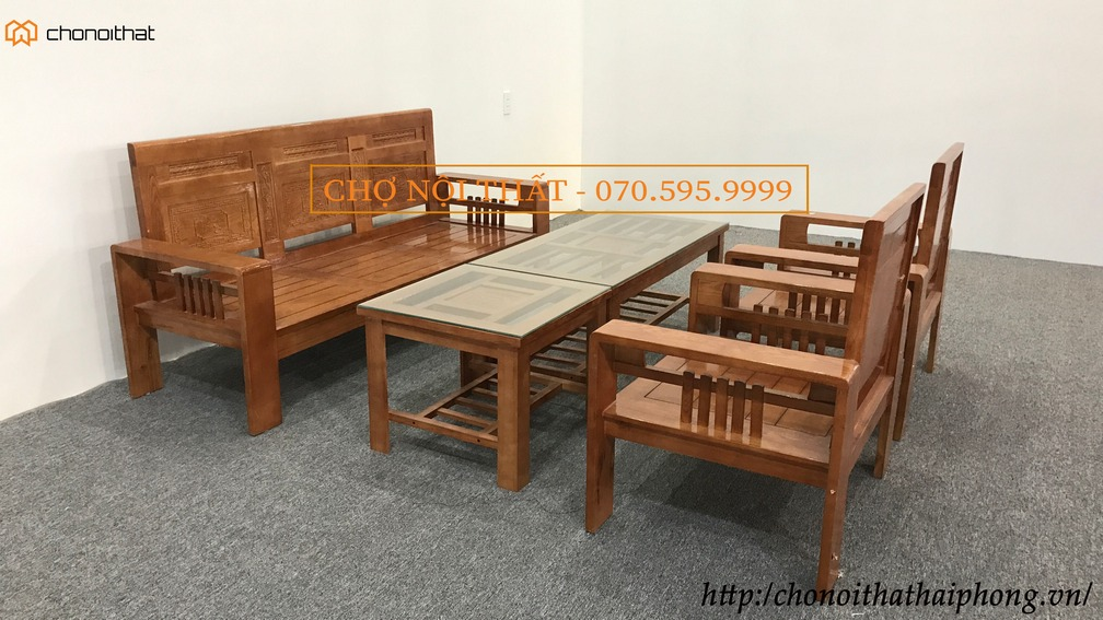 Bộ bàn ghế phúc lộc thọ màu cánh gián