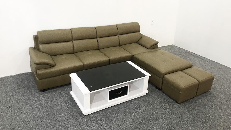Bộ ghế sofa góc bọc da màu rêu loang