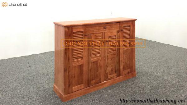 tủ giày gỗ xoan 4 cánh màu cánh gián