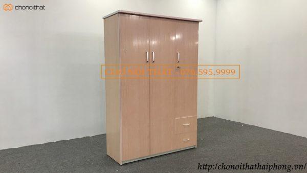 tủ quần áo nhựa 3 cánh vân gỗ hồng nhạt
